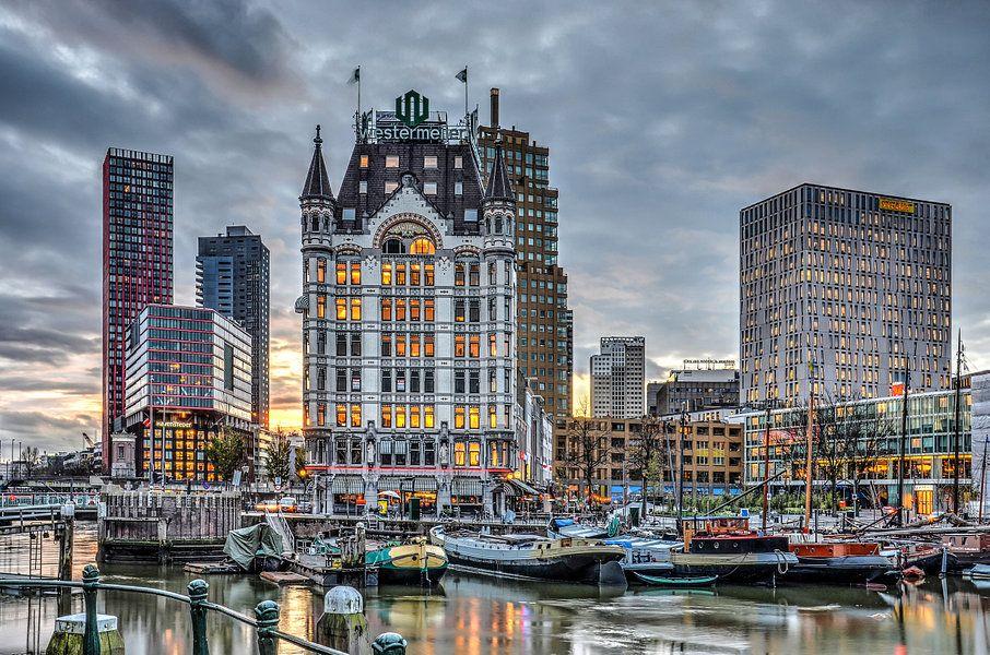 Oude Haven Rotterdam Bij Avond Van Frans Blok Op Canvas