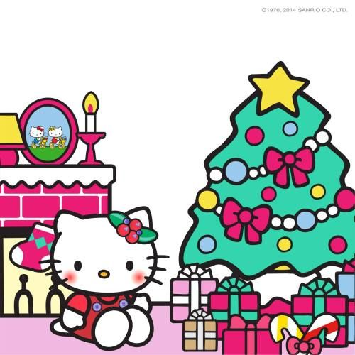 Hello Kitty by the Christmas tree