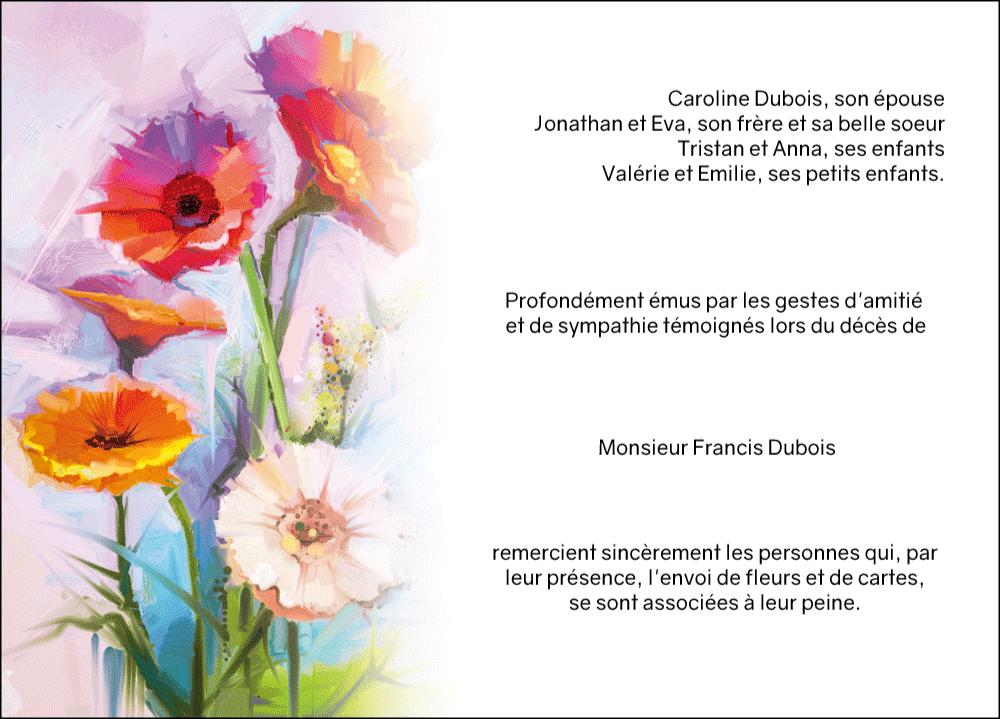 carte de remerciements obs ques th me fleurs jardin fleuri cartes de remerciements deuil. Black Bedroom Furniture Sets. Home Design Ideas