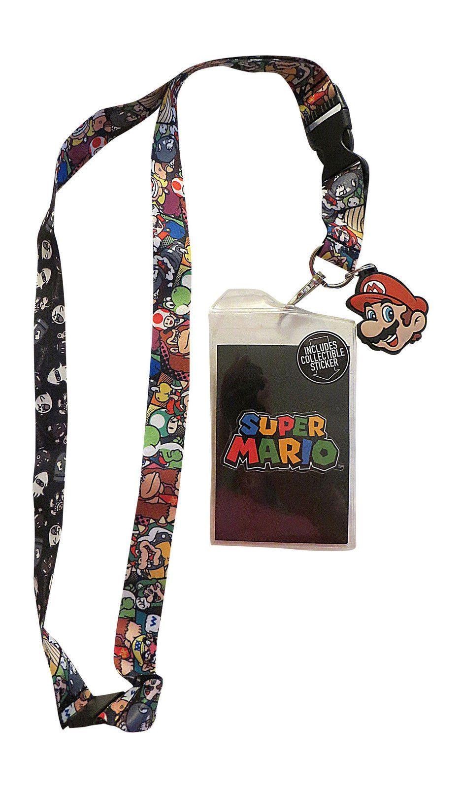 Super Mario Breakaway Lanyard With Charm - ID Badge / Ticket Holder New