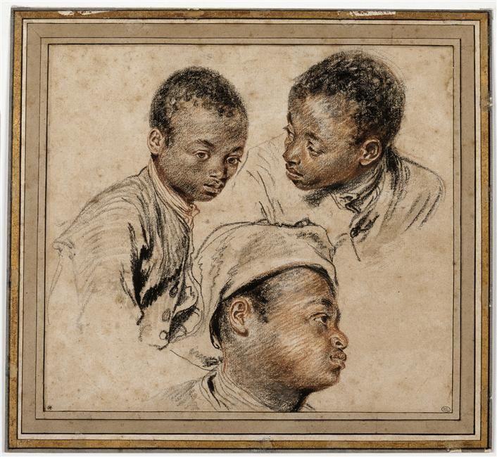 Antoine Watteau | Trois études de jeune noir | Images d'Art