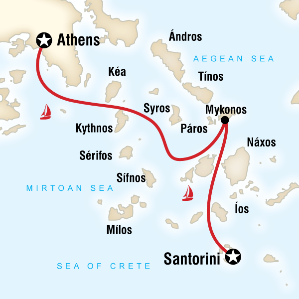 Map of the route for Sailing Greece Santorini to Athens Greece