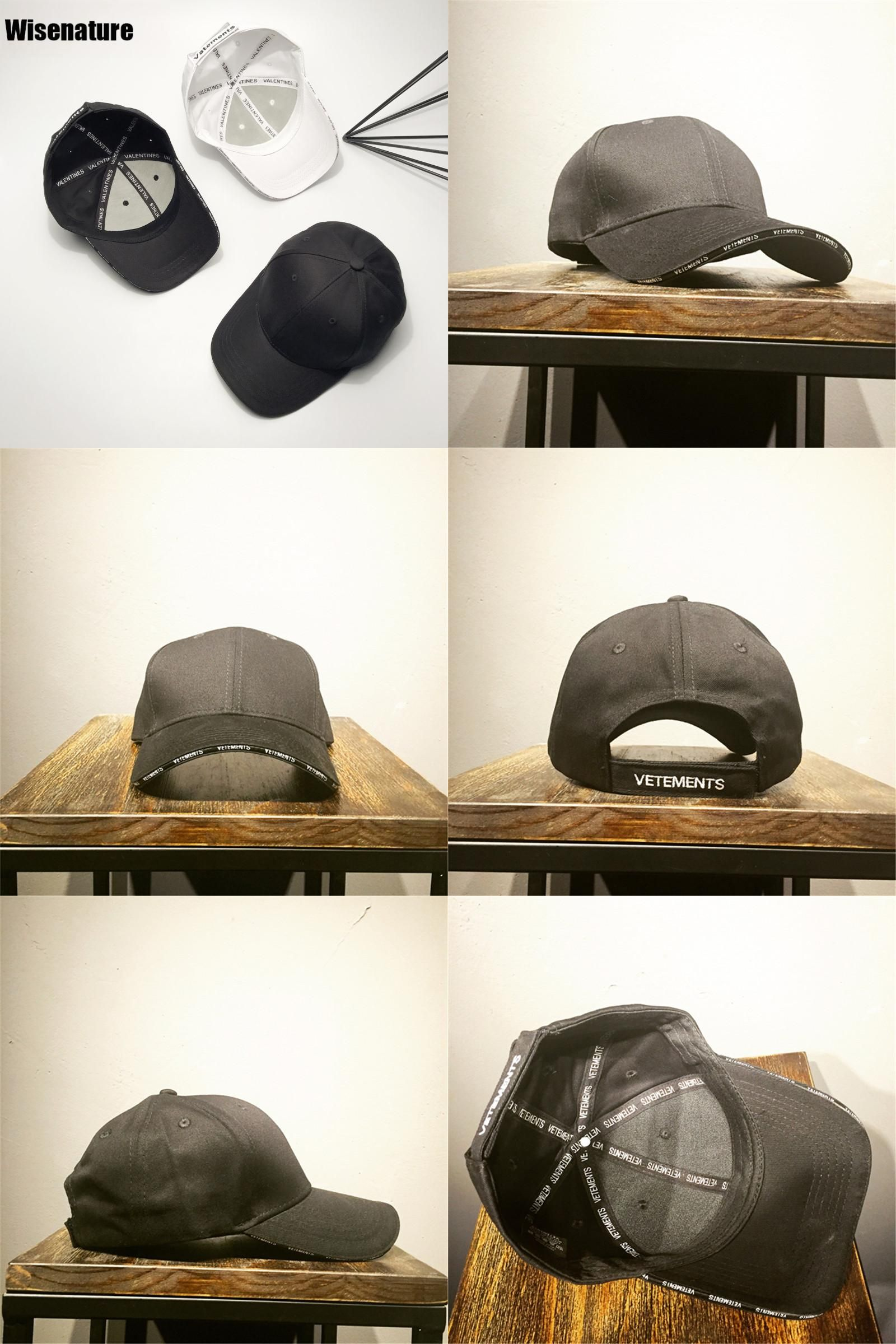 9bee380b119  Visit to Buy  Newest Vetements Baseball Cpas Men Letters Embroidery Solid  Black White Cap