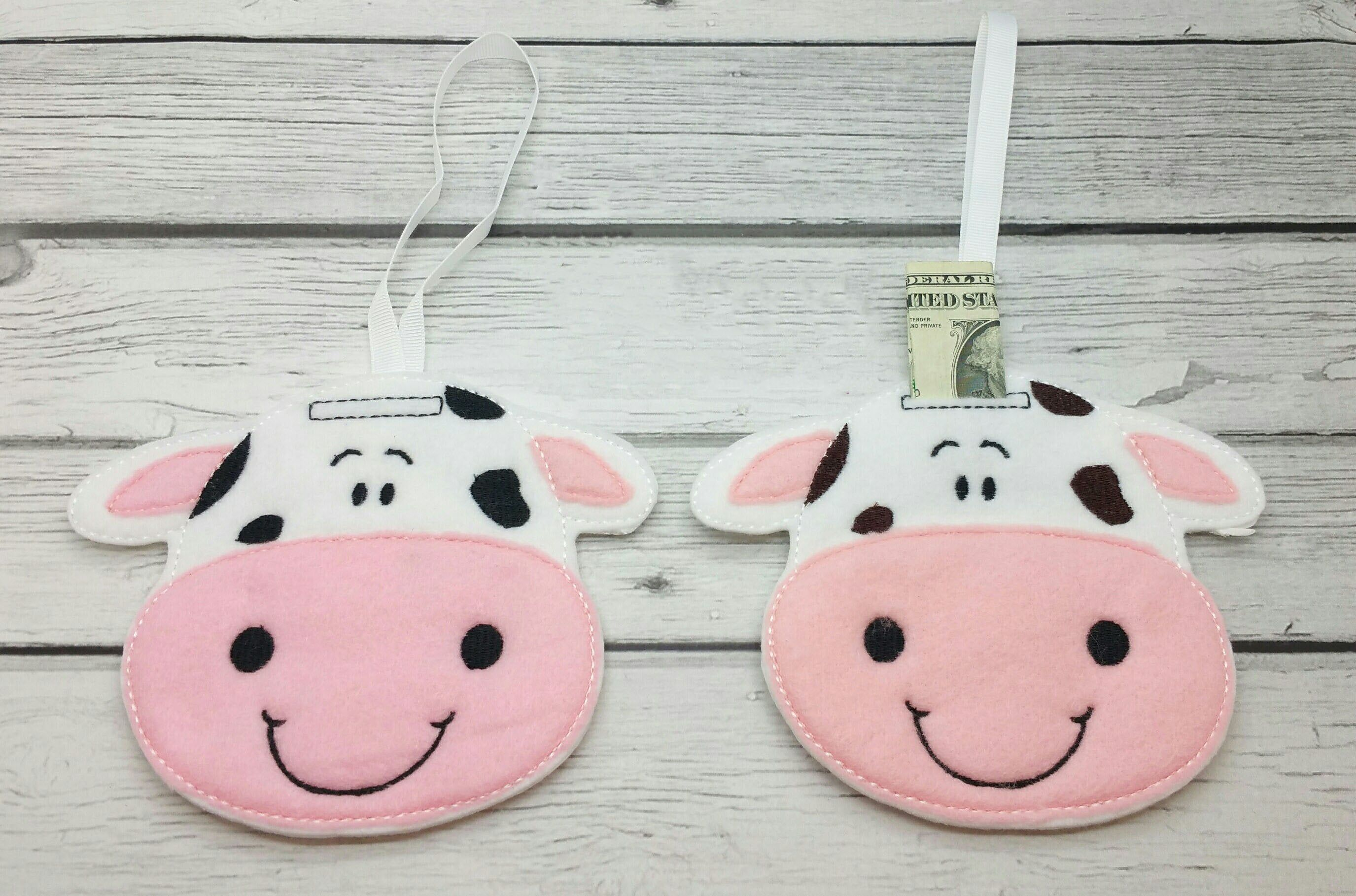 Cow hanging felt piggy bank, lost tooth fairy, milestones children, childs tooth pillow, stocking stuffers, Christmas gifts #stockingstuffersforadults