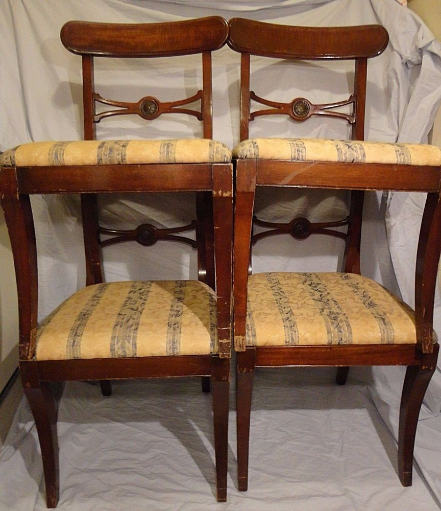 Paine Furniture Company Mahogany Chair Set 4 Chairs Antique Duncan Phyfe  Style #DuncanPhyfe #PaineFurnitureCompany