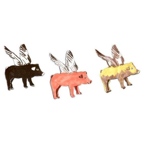 Flying Pigs Magnet Set (239.985 IDR) ❤ liked on Polyvore featuring home, home decor, office accessories und contemporary home decor
