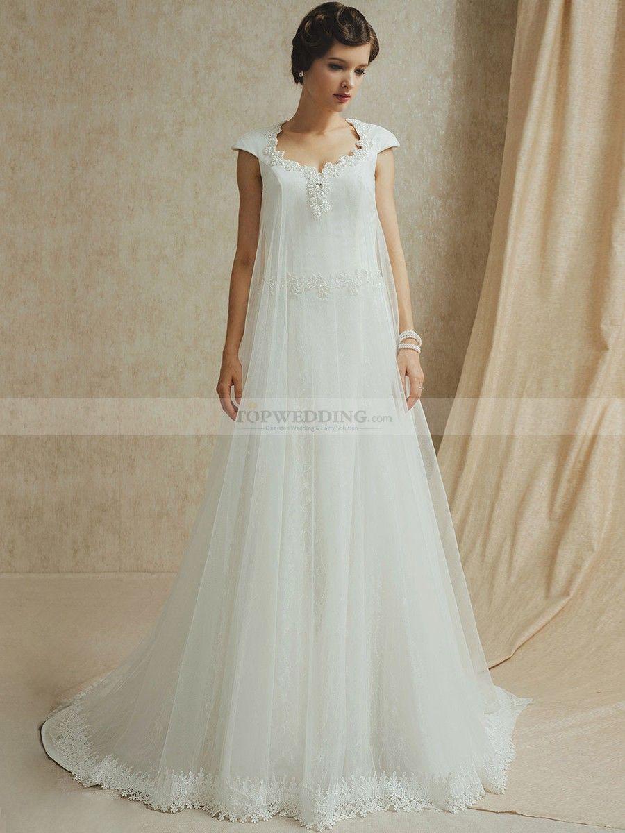 Yvette - manga casquillo corte a vestido de novia de tul con ...