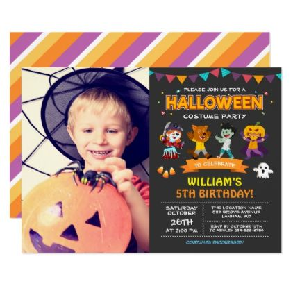 Kids photo halloween birthday costume party invite birthday kids photo halloween birthday costume party invite birthday invitations diy customize personalize card party gift bookmarktalkfo Image collections