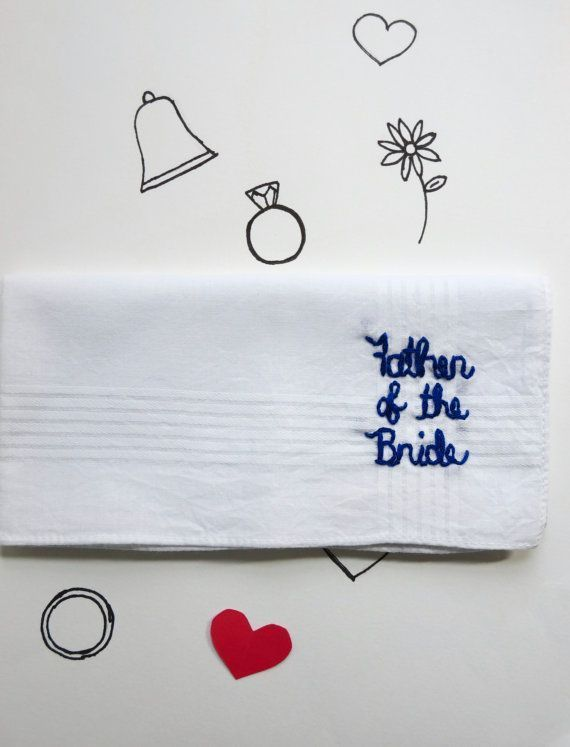 Father of the Bride Wedding Handkerchief Customized Wedding Accessory Handmade Wedding Personalized Wedding