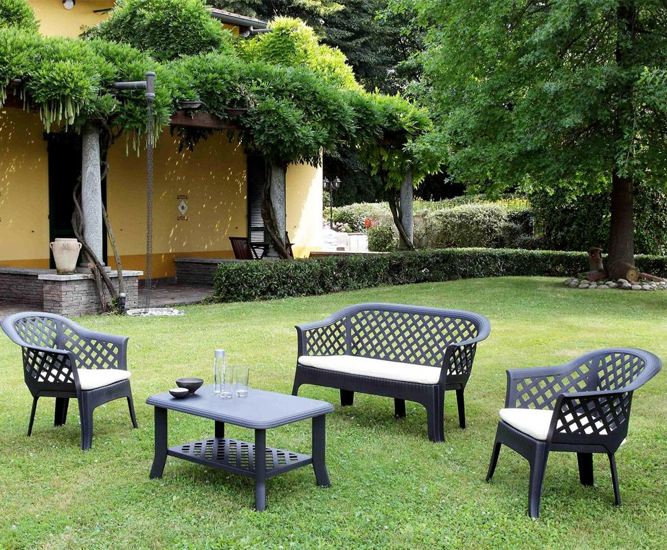 Salon de jardin VERANDA anthracite avec coussins | Verandas and Salons