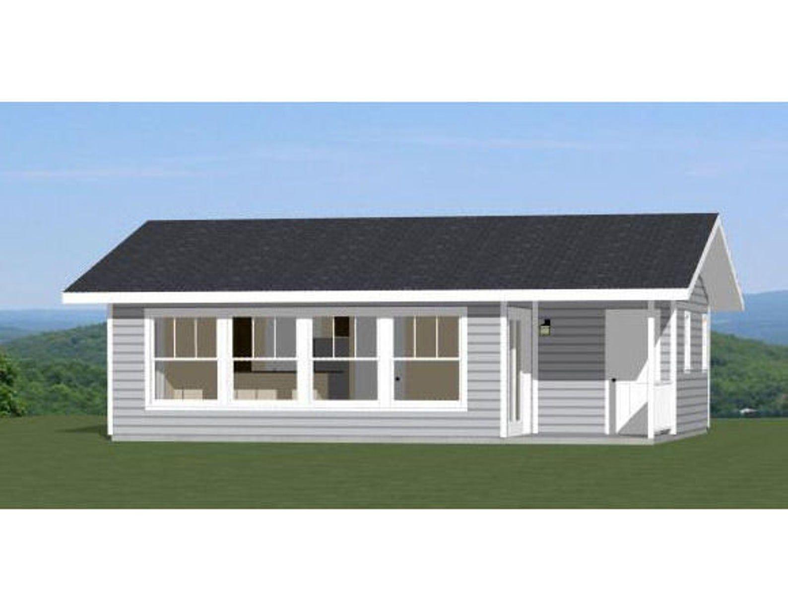 30x24 House 1 Bedroom 1 Bath 657 sq ft PDF Floor Plan Instant Download Model 1A