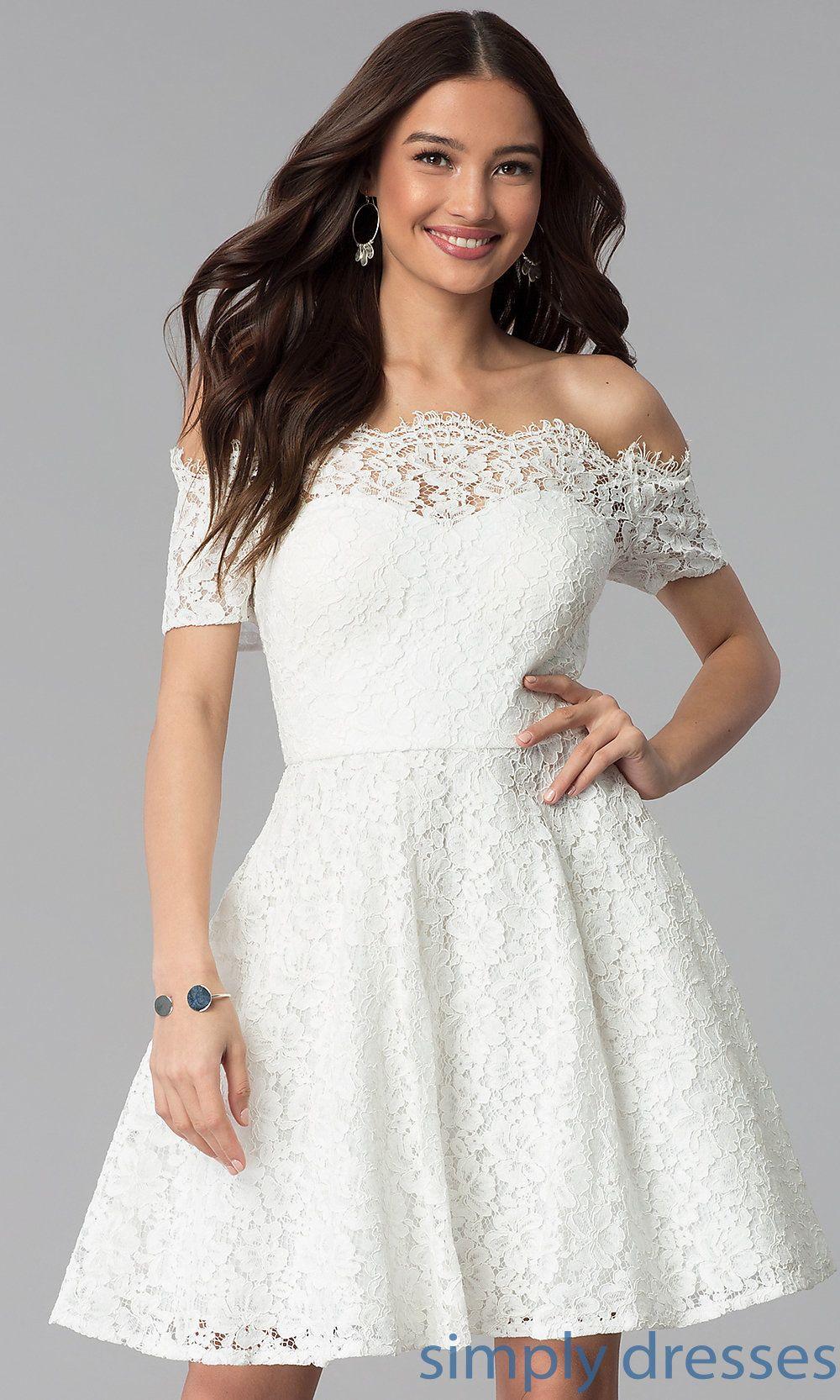Short Off The Shoulder Lace Graduation Party Dress White Dresses Graduation Graduation Party Dresses White Lace Party Dress [ 1666 x 1000 Pixel ]