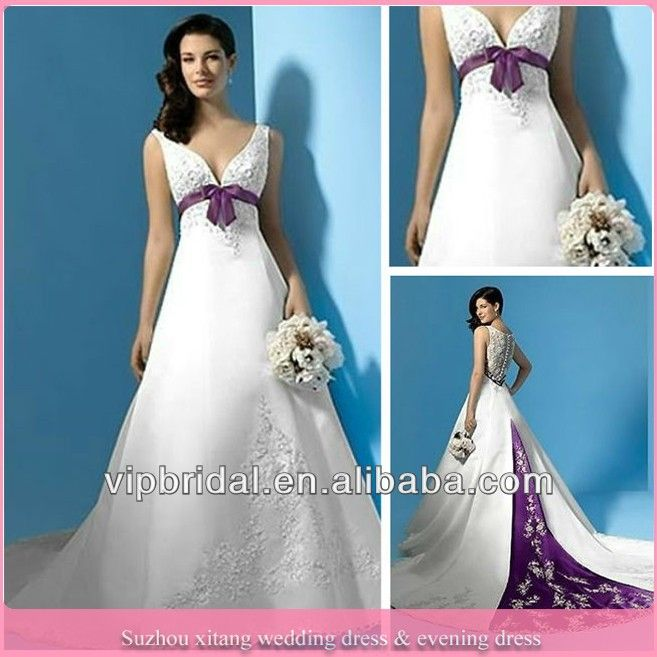Wholesale Purple And Ivory Wedding Dresses With Color Accents