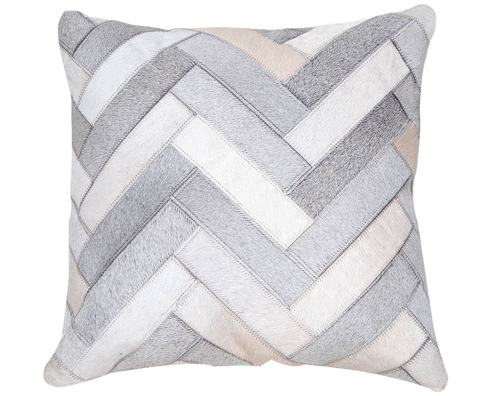 White and Light Grey Hairon leather Cushion Cover