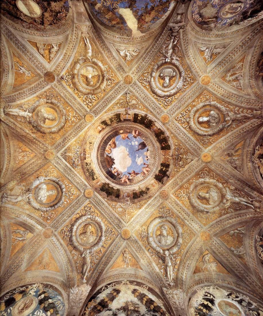 Andrea mantegna camera degli sposi volta al centro oculo for Mantegna camera degli sposi