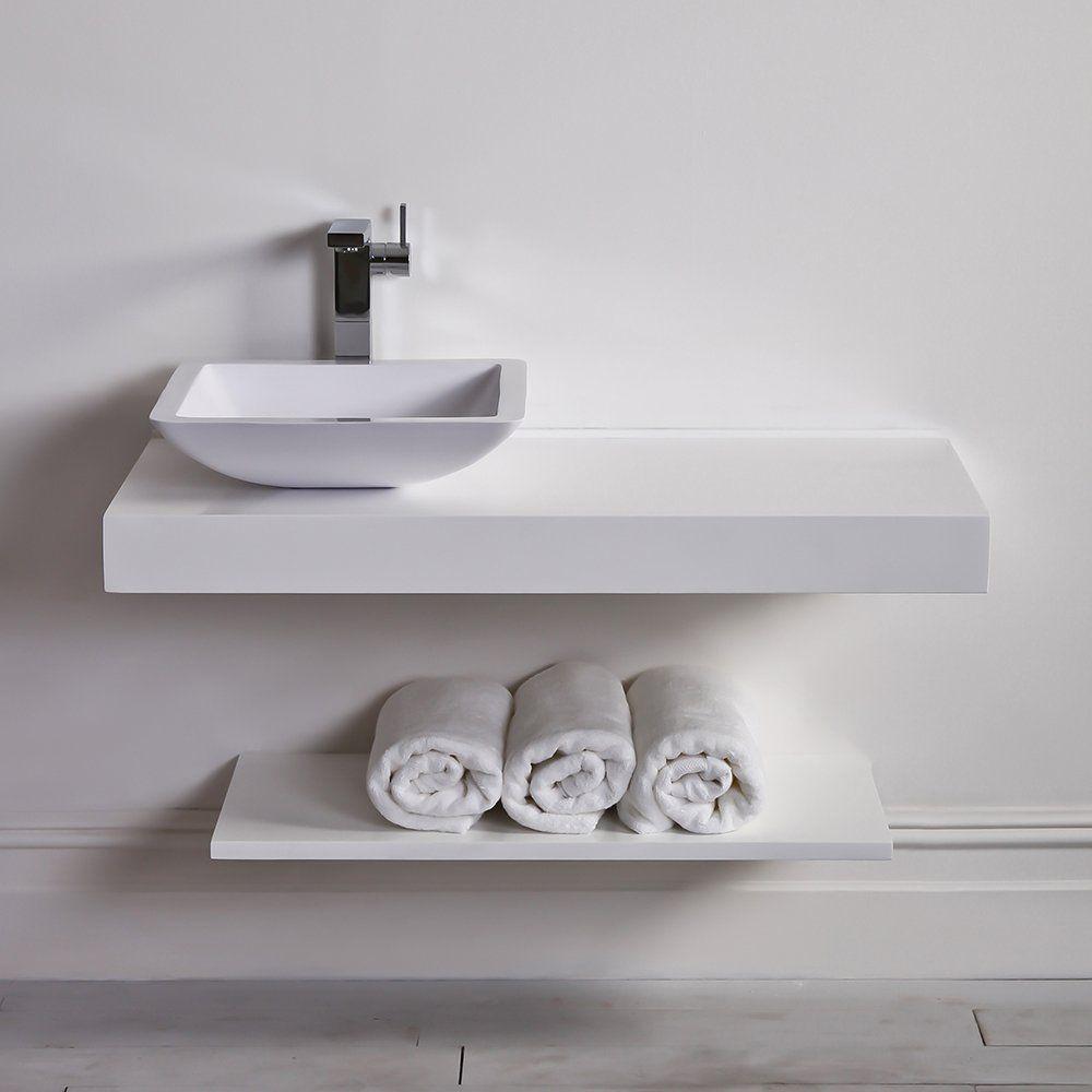 Lusso Stone Wall Hung Slimline Countertop Basin Shelf 1000
