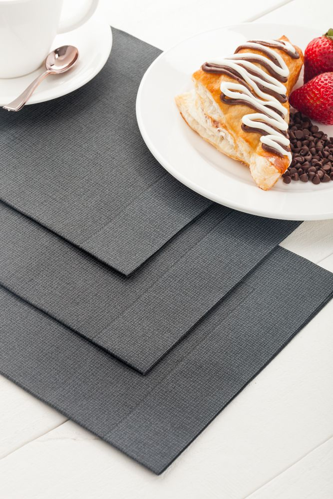 Luxenap Air Laid Disposable Napkins Black With White Threads 16x16 Inches 600 Count Box Buffet Stations Napkins Dinner Napkins