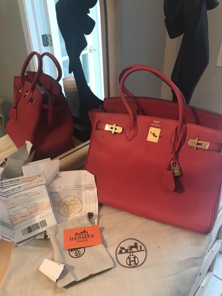 3c68102811 Hermes Birkin 35 mm Handbag Red Togo Leather Gold Hardware--Mint ...