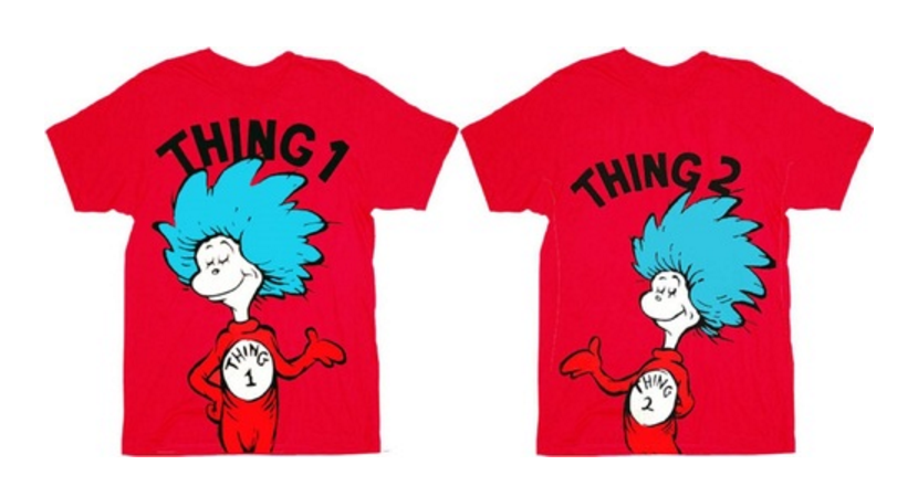 74582d69 Thing 1 and Thing 2 Shirts   Dr. Seuss Thing 1 or Thing 2 Adult Red T-shirt