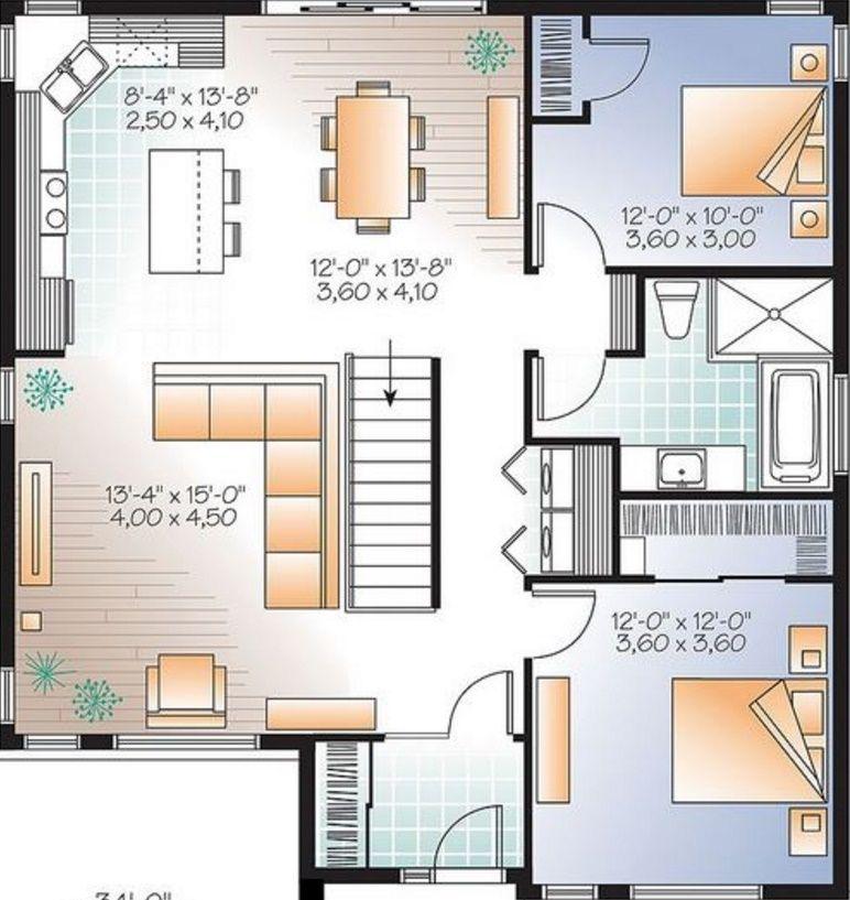 Plano de casa de 100 metros cuadrados casa 1 nivel en for Diseno de apartamentos de 90 metros cuadrados