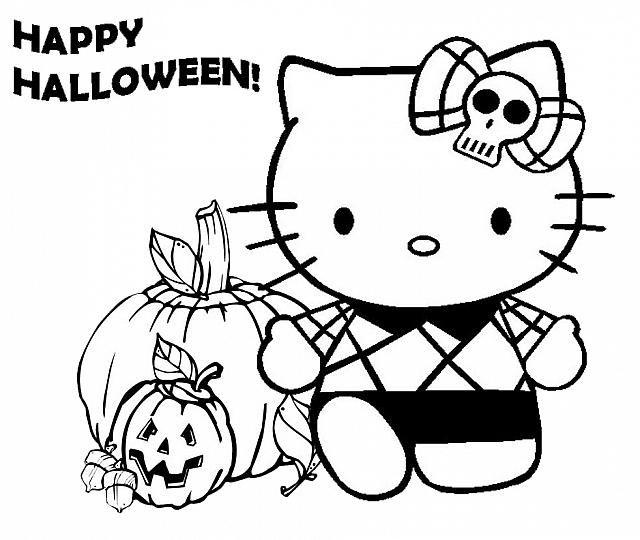 Felice Halloween Con Hello Kitty Disegno Da Colorare Gratis