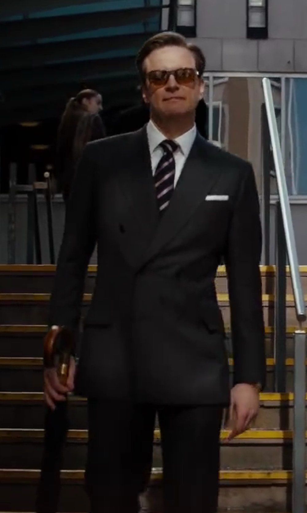 Kingsman for Mr. Porter Navy Double-Breasted Pinstripe Suit as ...