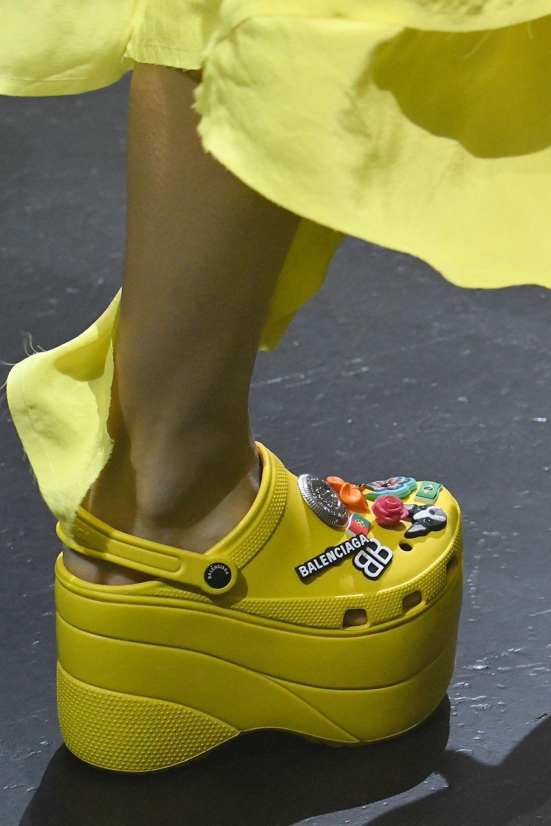 Platform crocs, Yellow crocs, Cute shoes