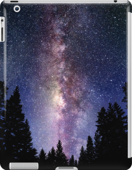 Starry Night Forest - Galaxy Stars Ipad Snap Case by Kabanaba