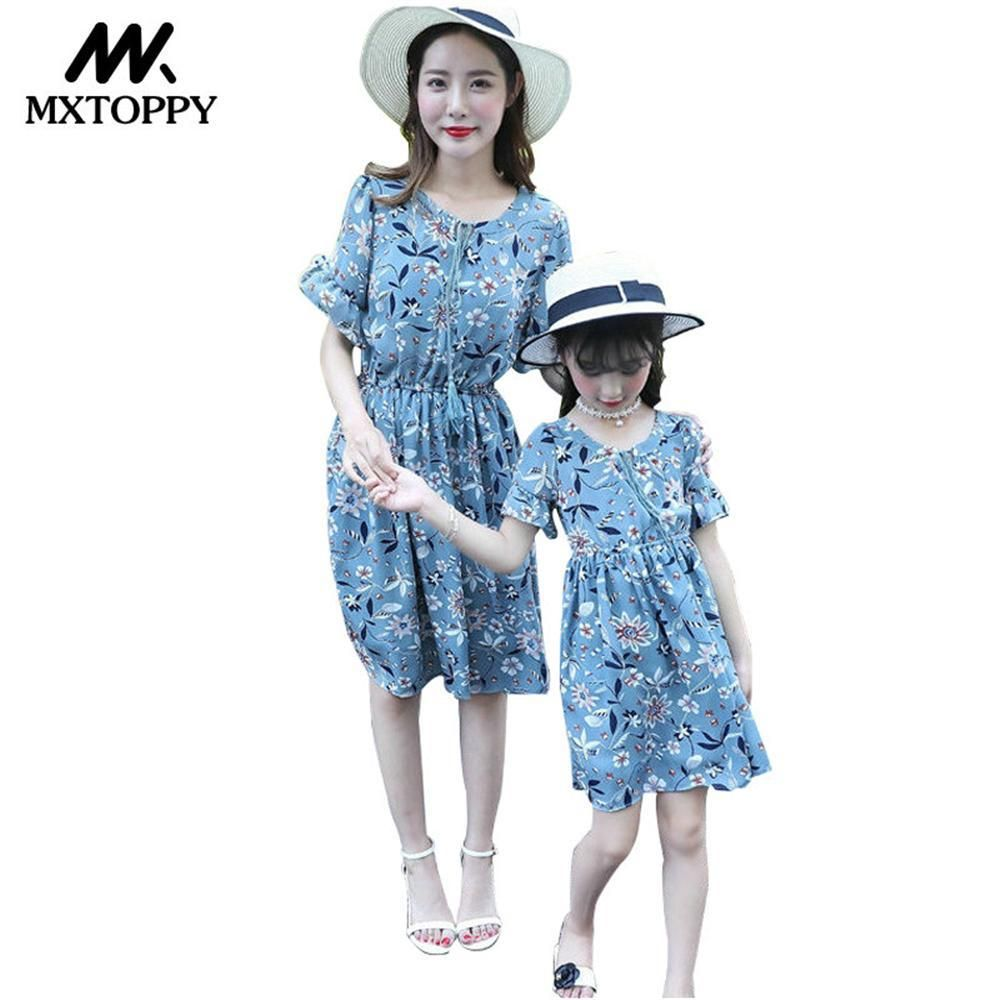c634db1ac3dd MXTOPPY Family Matching Clothes 2018 New Fashion Lake Blue Flower Girls  Dress Summer Chiffon Mother Daughter Dresses. Yesterday s price  US  23.94  (20.87 ...