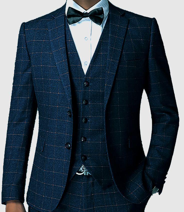 Dark Blue Check Men Suit Tailored Plaid Suits For Men, Elegant ...