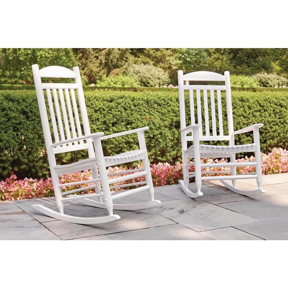 Hampton Bay Glossy White Wood Outdoor Rocking Chair IT