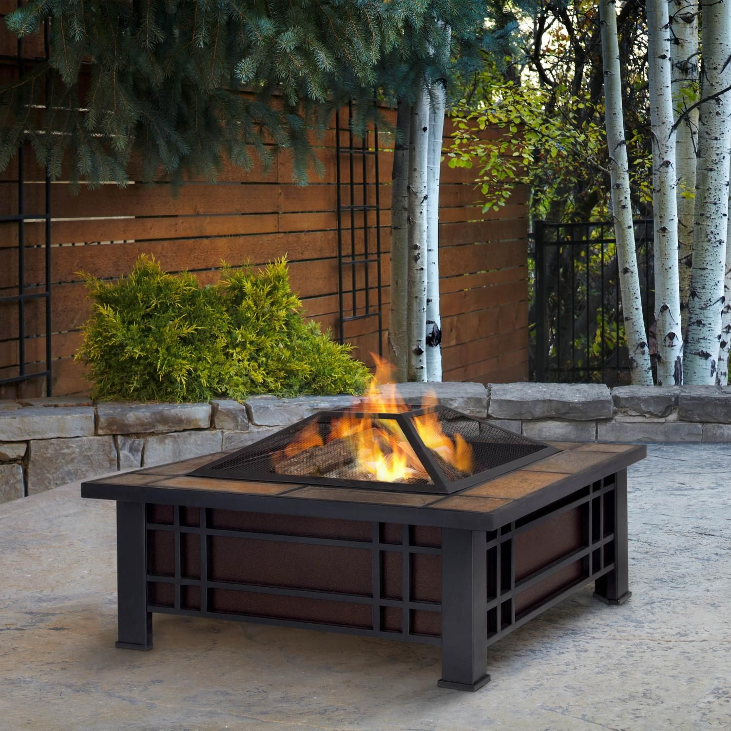 real flame morrison 33 inch wood burning fire pit 906 bk wood