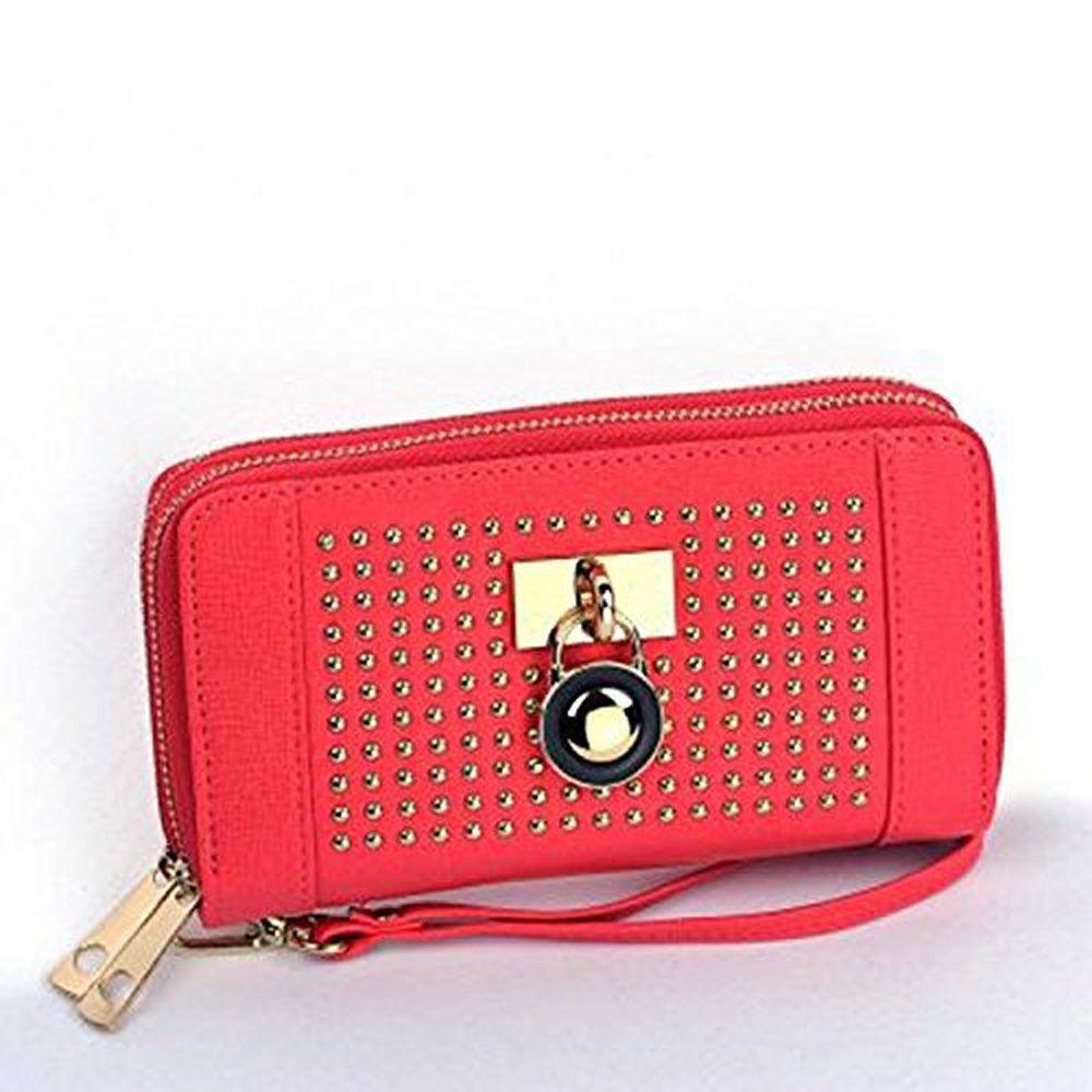 Studded Padlock Wrap Around Zipper Clutch Purse Wristlet Wallet