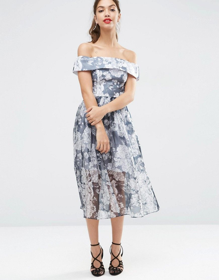 new design unparalleled autumn shoes Image 4 of ASOS PETITE Navy Floral Bardot Organza Midi Dress ...