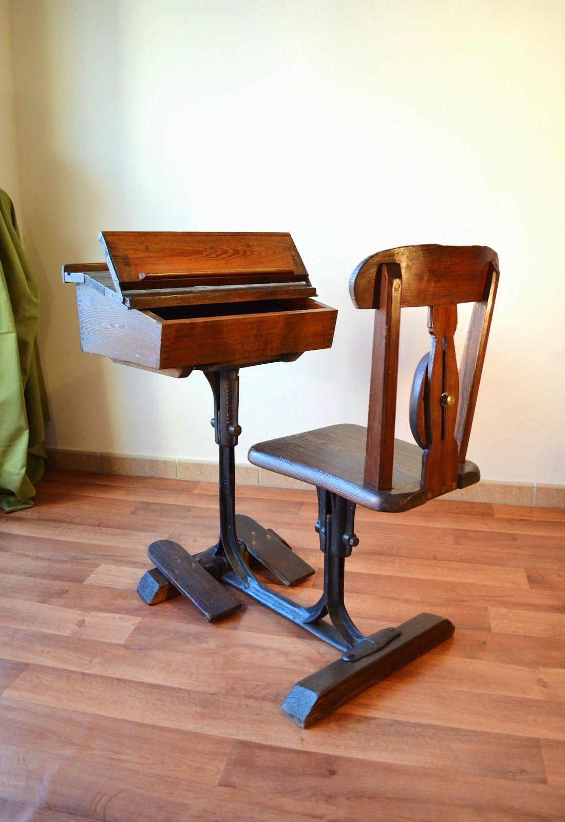 T Bano Vintage Pupitre Escritorio De Escuela De Poca Victoriana  # Muebles Pupitres Escolares