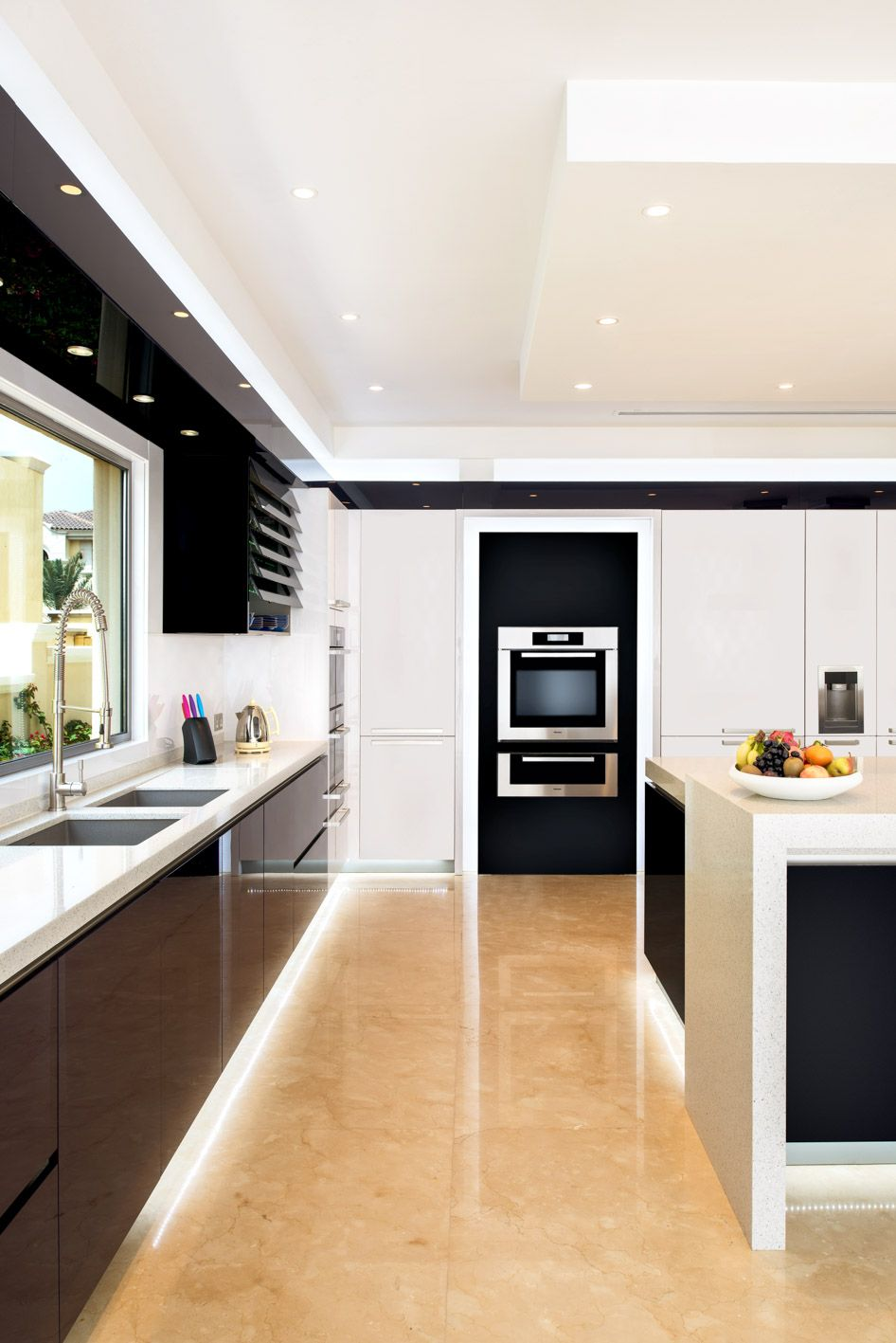 This monochromatic kitchen certainly breaks from the norm