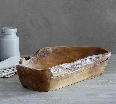 Pottery Barn Decorative Bowls Low Round Live Edge Dough Bowl  Dough Bowl Bowls And Barn