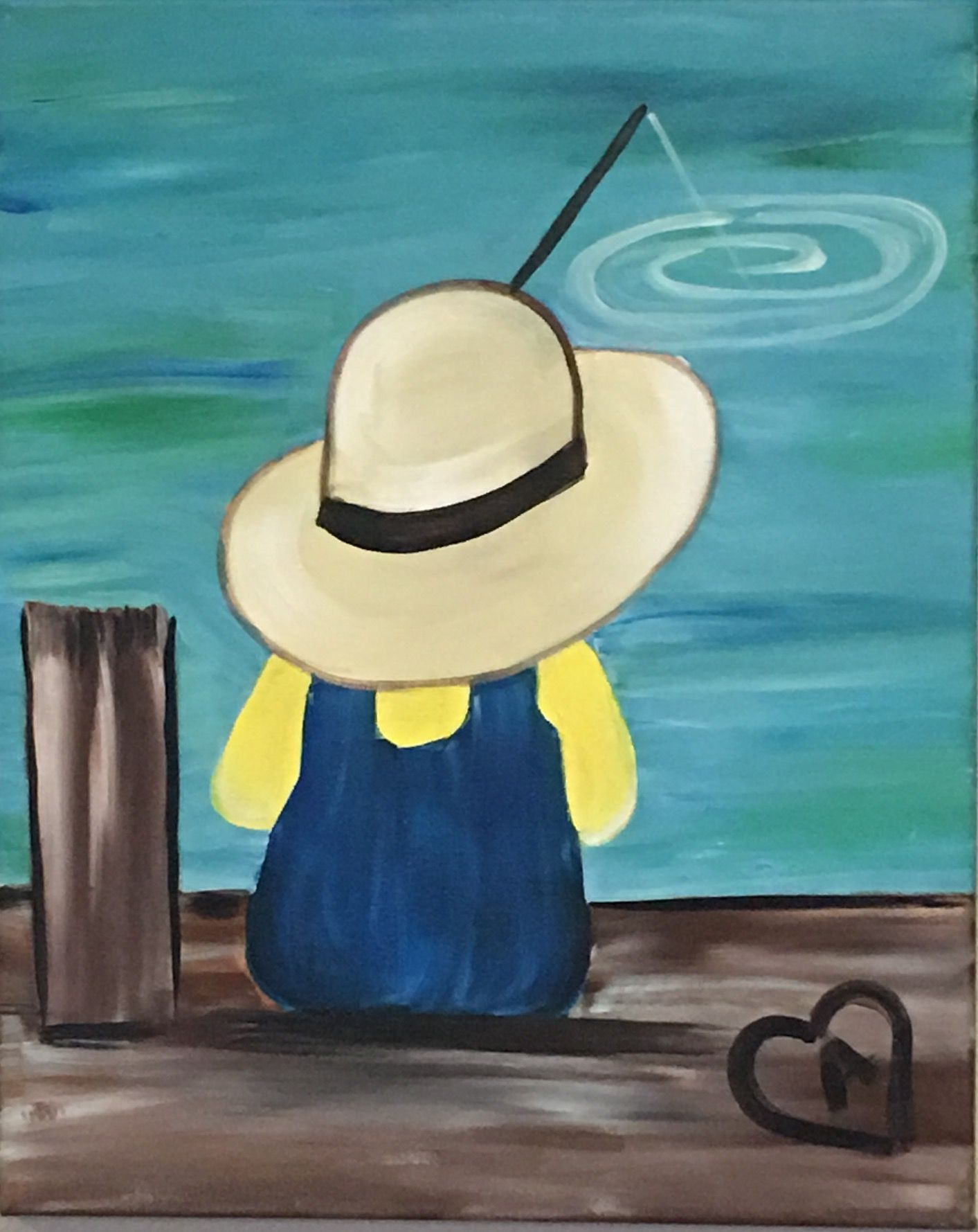 Little Kid Fishing On The Pier With Heart Beginner Painting Idea Gonefishing2