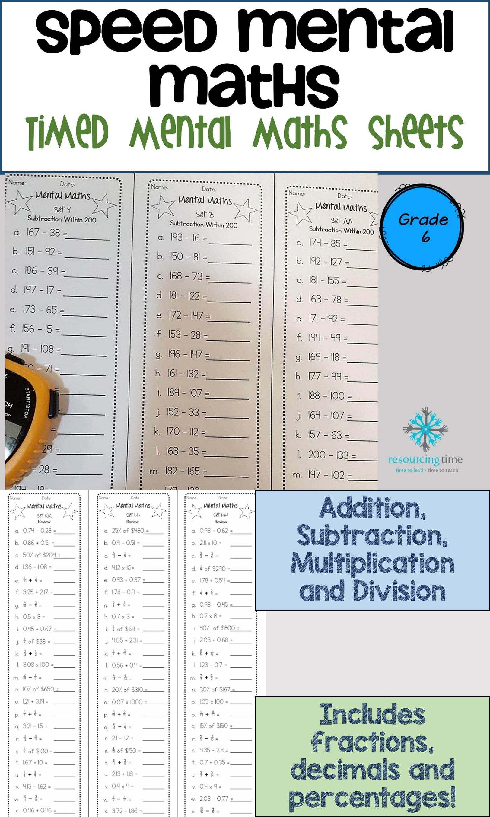 45 Mental Maths Sheets For Your Students To Increase Their Fluency And Accuracy With Addition Subtraction Multiplication And Div Mental Math Math Math Sheets [ 2707 x 1624 Pixel ]