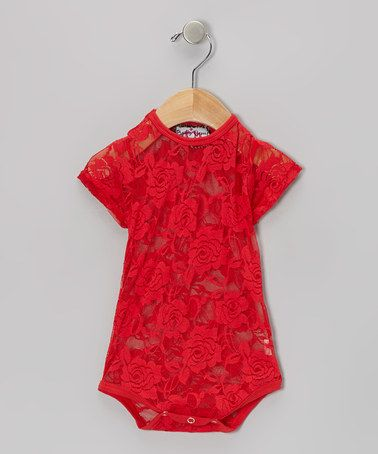 Take a look at this Red Lace Bodysuit - Infant by Baby Gem by Royal Gem Clothing on #zulily today!