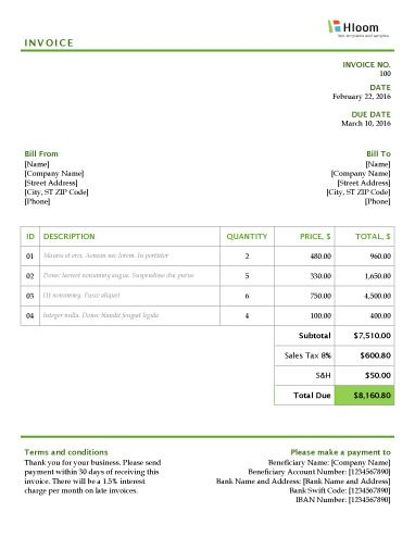 Greenlight District Word Invoice Template Invoice Templates - ms custom invoice template