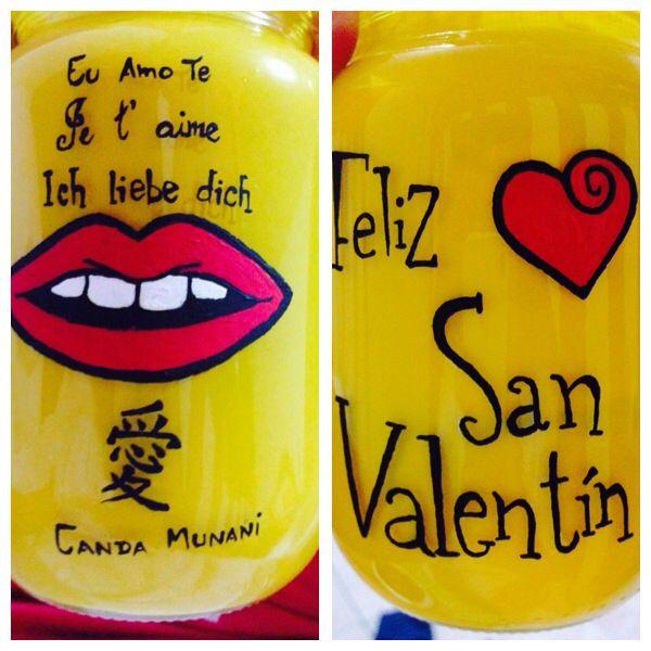 Frasco decorado para San Valentín!! ❤️