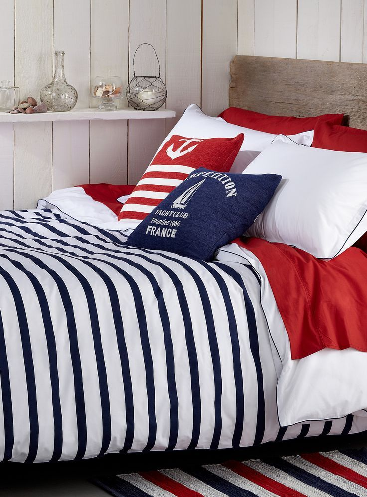 Nautical Bedroom Blue White Red Stripes Anchor And Boat On The Pillow Dreaming Nautical Dreams Of Blue Ocean Bedroom Decor Home