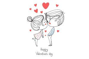 Valentine's Day. Boy and girl kissin ~ Illustrations ~ Creative Market