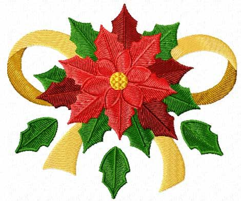 Free Christmas Machine Embroidery Design: Poinsettia with Ribbon ...