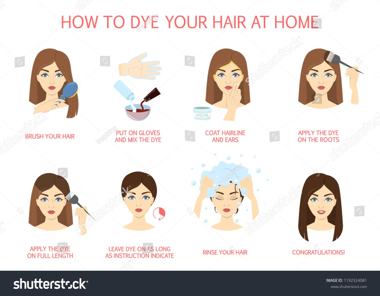 How to dye your hair at home guide. Step-by-step instruction for