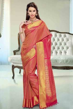 9043297ea2 Pink silk brocade zari weaved saree in golden border & pink pallu ...