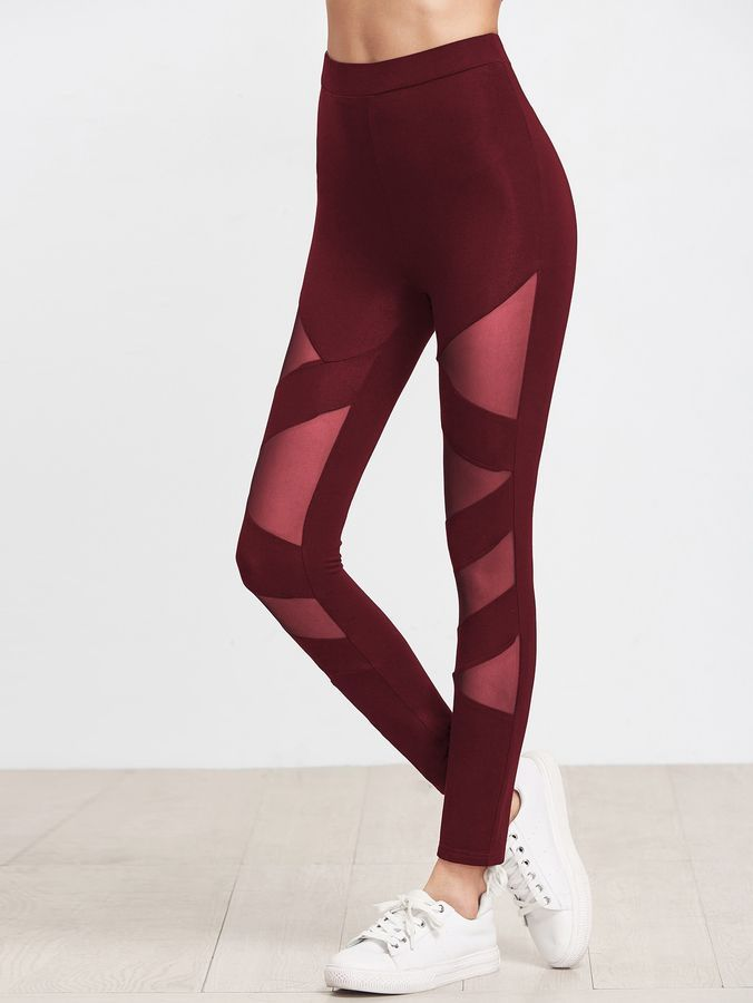 812f4a6f3b12df Shein Mesh Insert Bandage Leggings   Fashion   Leggings are not ...