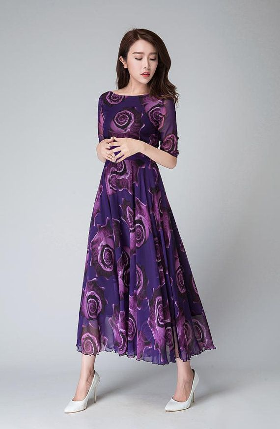Purple Floral Dress, women dresses, maxi dress, half sleeve dress ...