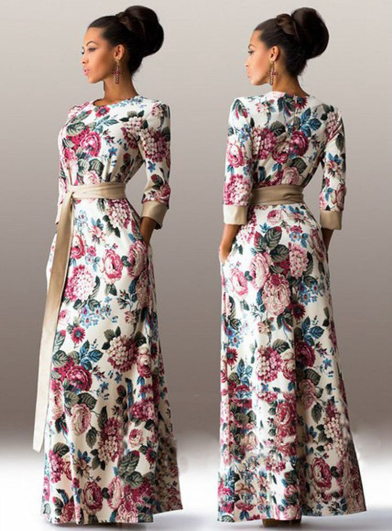 Women slim vintage elegant long dress autumn three quarter sleeve